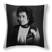 Vintage Portrait Of Colored Lady Throw Pillow