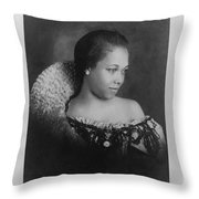 Vintage Portrait Photo Of Young Pretty Colored Lady Throw Pillow