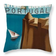 Vintage Portugal Travel Poster Throw Pillow