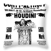 Vintage Poster Advertising A Performance By Houdini, 1922 Throw Pillow