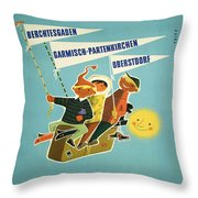 Vintage Poster - Bavarian Alps Throw Pillow
