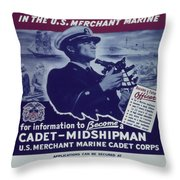 Vintage Poster - Be A Ship's Officer Throw Pillow