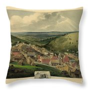 Vintage Pottsville Pennsylvania Etching With Remarque Throw Pillow