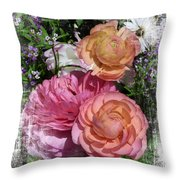 Vintage Ranunculus Throw Pillow