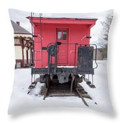 Vintage Red Caboose In The Snow Throw Pillow
