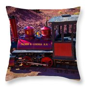 Vintage Red Calico Train Throw Pillow