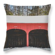 Vintage Red Carriage Barn Lyme Throw Pillow