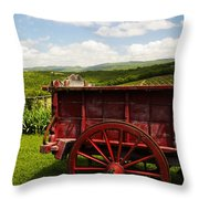 Vintage Red Wagon Throw Pillow