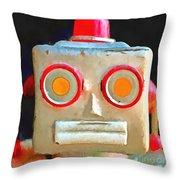 Vintage Robot Toy Square Pop Art Throw Pillow