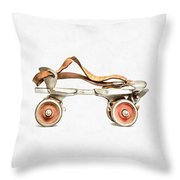 Vintage Roller Skate Painting Throw Pillow