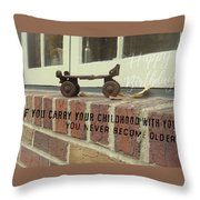Vintage Roller Skate Quote Throw Pillow