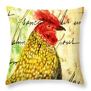 Vintage Rooster Portrait    Throw Pillow