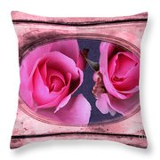 Vintage Rose Bud Plate Frame Painting Throw Pillow