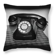 Vintage Rotary Phone Black And White Throw Pillow