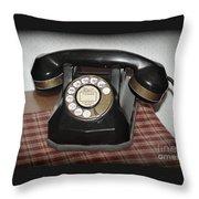 Vintage Rotary Phone Throw Pillow