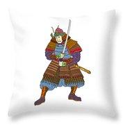 Vintage Samurai Katana Woodblock Print Throw Pillow