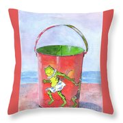 Vintage Sand Pail Dancing Frogs Throw Pillow