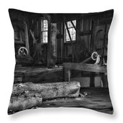 Vintage Sawmill In Black And White Throw Pillow