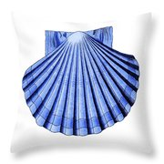 Vintage Scallop Shell Blue Throw Pillow