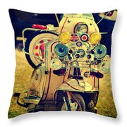 Vintage Scooter Throw Pillow