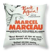 Vintage Show Poster Marcel Marceau Throw Pillow
