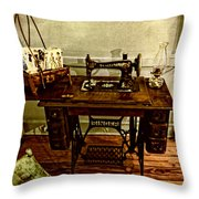 Vintage Singer Sewing Machine Throw Pillow
