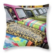 Vintage Small Cars Throw Pillow
