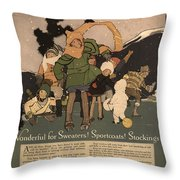 Sweaters Sportcoats And Stockings Vintage Soap Ad 1917 Winter Throw Pillow