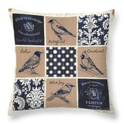 Vintage Songbirds Patch Throw Pillow
