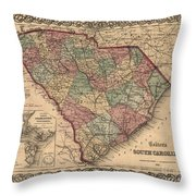 Vintage South Carolina Map Throw Pillow