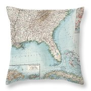 Vintage Southeastern Us And Caribbean Map - 1900 Throw Pillow