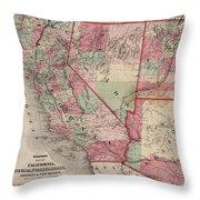 Vintage Southwestern United States Map - 1869 Throw Pillow