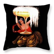 Vintage Sparkling Wine Advertisement Throw Pillow