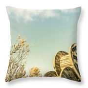 Vintage Spools And Farmyard Skies Throw Pillow