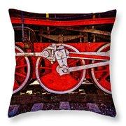 Vintage Steam Train Wheels Throw Pillow