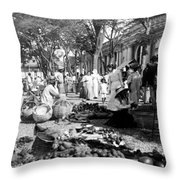 Vintage Street Scene In Ponce - Puerto Rico - C 1899 Throw Pillow