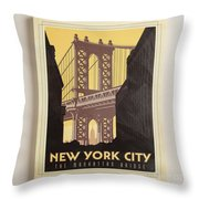 Vintage-style New York City Poster Throw Pillow