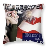 Vintage Style Pinup Recruiting Poster Throw Pillow