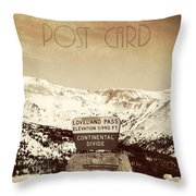Vintage Style Post Card From Loveland Pass Throw Pillow by Juli Scalzi