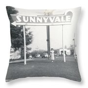 Vintage Sunnyvale Sign Throw Pillow