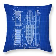 Vintage Surf Board Patent Blue Print 1950 Throw Pillow