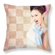 Vintage Surprised Pinup Woman Doing Housework Throw Pillow