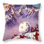 Vintage Swiss Travel Poster Throw Pillow