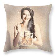 Vintage Tea Advertisement Pin-up Throw Pillow