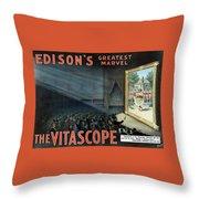 Vintage Thomas Edison Print - The Vitascope Throw Pillow