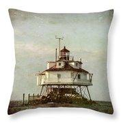 Vintage Thomas Point Shoal Lighthouse Throw Pillow