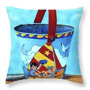 Vintage Tin Sand Bucket Throw Pillow