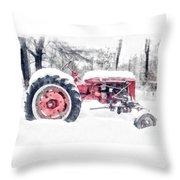 Vintage Tractor Christmas Throw Pillow