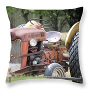 Vintage Tractor In Color Throw Pillow