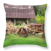 Vintage Tractor Throw Pillow